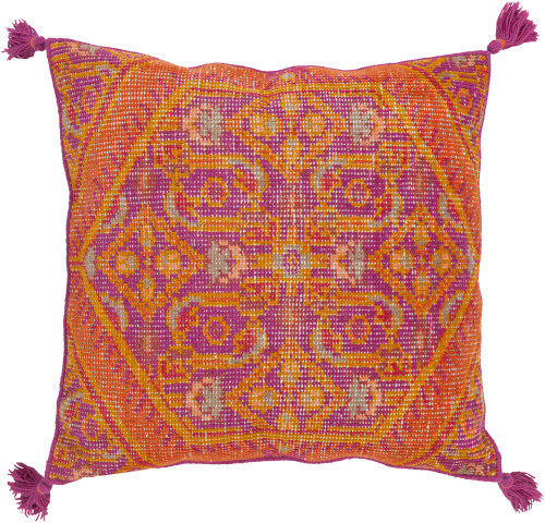 "30"" Orange and Purple Hand Knotted Traditional Throw Pillow with Fringe - Poly Filled - IMAGE 1"