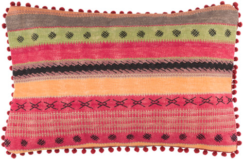 """22"""" Crimson Red and Olive Green Striped Rectangular Throw Pillow - Down Filler - IMAGE 1"""