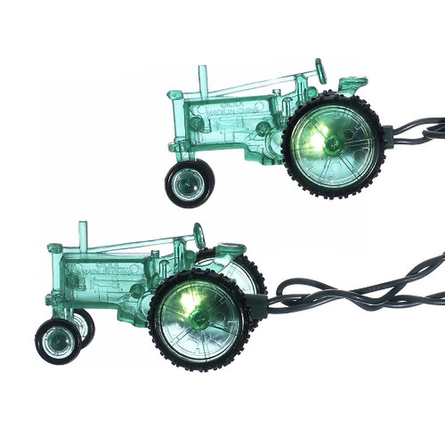 Set of 10 Country Heritage Green Farm Tractor Christmas Lights - 9 ft Green Wire - IMAGE 1