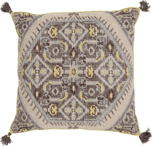 "30"" Brown and Gray Hand Knotted Square Throw Pillow with Fringe - Poly Filled - IMAGE 1"