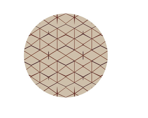 8' Beige and Maroon Hand Tufted Round Wool Area Throw Rug - IMAGE 1