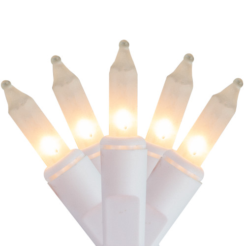 100ct White and Clear Frosted Mini Icicle Christmas Lights - White Wire - IMAGE 1