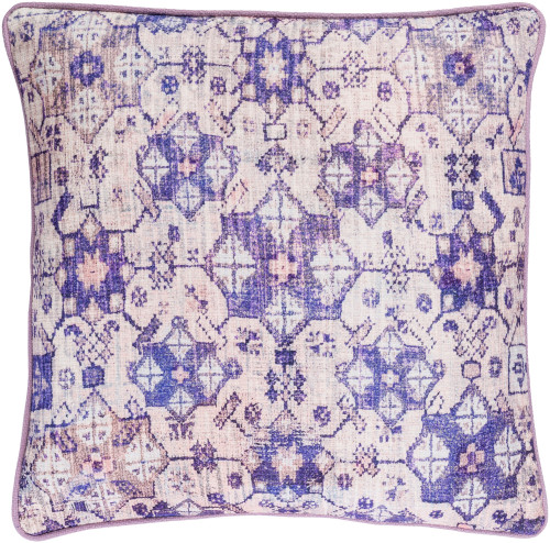 """18"""" Lavender Purple and Powder Pink Woven Decorative Throw Pillow - Poly Filled - IMAGE 1"""
