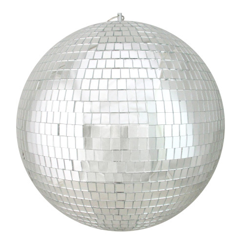"""Silver Shatterproof Mirrored Glass Disco Christmas Ball Ornaments 12"""" (300mm) - IMAGE 1"""