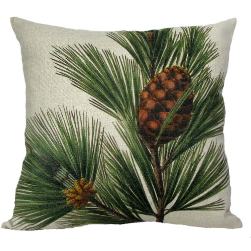 """18"""" White and Brown Pine Cone with Bough Throw Pillow - IMAGE 1"""