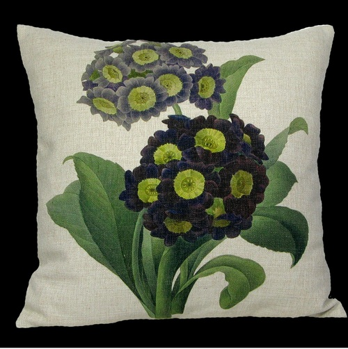 """18"""" Purple and Black Square Primrose Floral Throw Pillow Cover - IMAGE 1"""