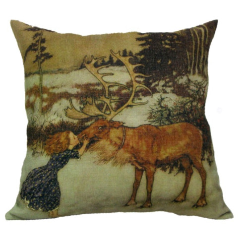 """18"""" Brown Square Gerda and Reindeer Christmas Throw Pillow Cover - IMAGE 1"""