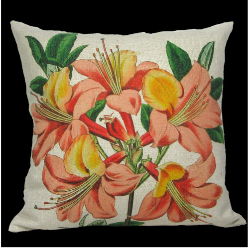 """18"""" Green and Orange Floral Lily Square Throw Pillow Cover - IMAGE 1"""