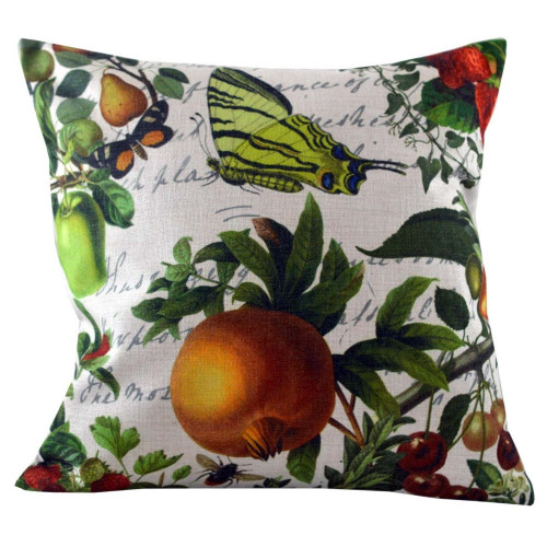 """18"""" Green Butterflies and Fruits Decorative Throw Pillow Cover - IMAGE 1"""