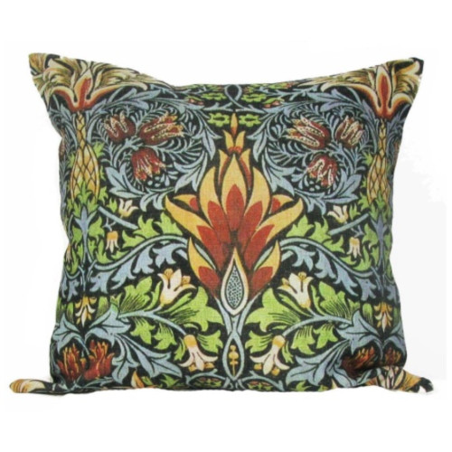 "18"" Blue and Brown Swirl Floral Throw Pillow with Insert - IMAGE 1"