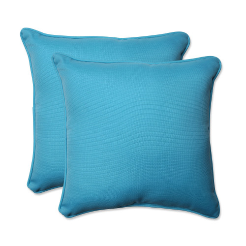 "Set of 2 Blue Turquoise UV/Fade Resistant Outdoor Patio Square Throw Pillow 18.5"" - IMAGE 1"