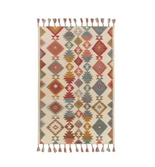 5' x 7.5' Iroquois Creations Ruby Red, Teal Blue, Fallow and Beige Hand Woven Area Throw Rug - IMAGE 1