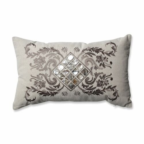"""18.5"""" Mother of Pearl Decorative Throw Pillow with Filigree Detailing - IMAGE 1"""
