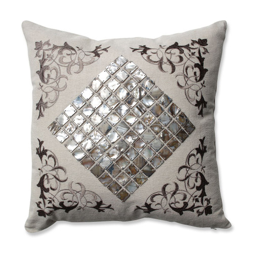 "16.5"" Mother of Pearl Decorative Throw Pillow with Filigree Detailing - IMAGE 1"