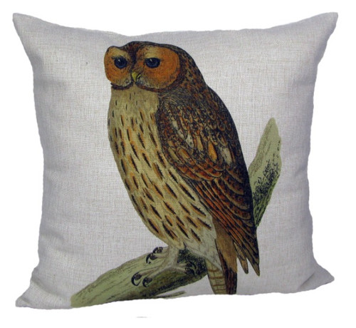 "18"" White and Brown Owl Square Throw Pillow with Insert - IMAGE 1"