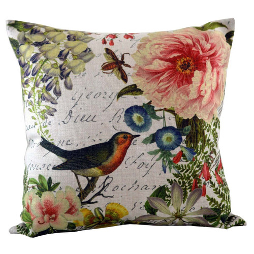 """18"""" White and Pink Songbird and Blossoming Floral Accents Throw Pillow - IMAGE 1"""