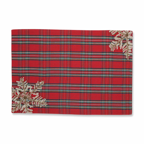 """Set of 2 Christmas Snowflakes Red, Green and Silver Plaid Decorative Placemats 19"""" - IMAGE 1"""