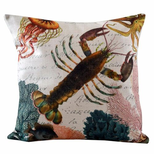 """18"""" Black and Pink Decorative Lobster Throw Pillow - IMAGE 1"""