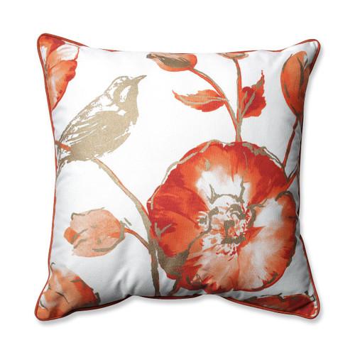 "16.5"" Springtime Rust Colored Watercolor Floral Design Decorative Throw Pillow - IMAGE 1"