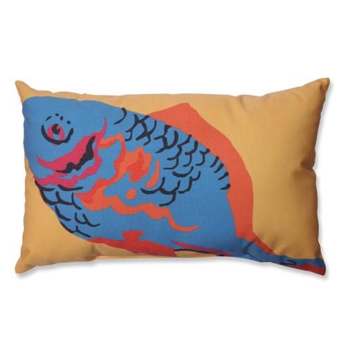 "18.5"" Orange with a Blue Fish Rectangular Decorative Indoor Throw Pillow - IMAGE 1"