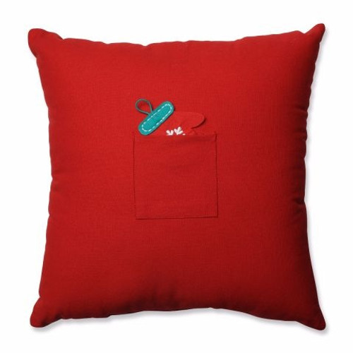 "17.5"" Red and Aqua Blue Advent Couch Square Christmas Throw Pillow - IMAGE 1"