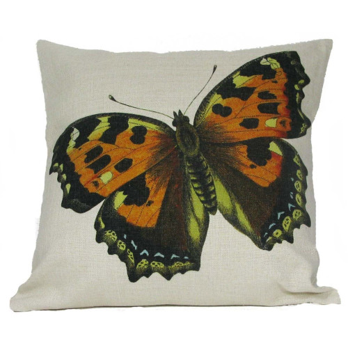 """18"""" Orange and Black Spotted Butterfly Decorative Throw Pillow - IMAGE 1"""