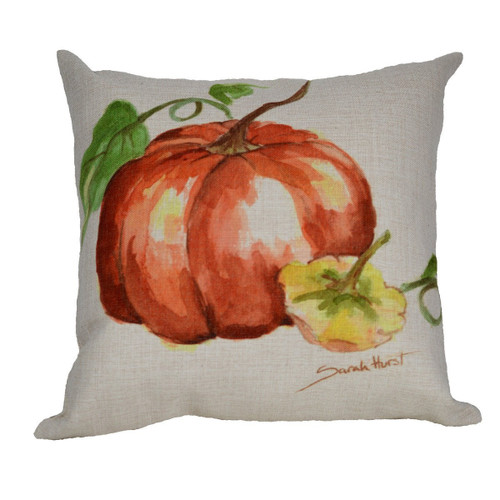 "18"" Red and Yellow Autumn Pumpkin with Gourd Decorative Throw Pillow Cover - IMAGE 1"