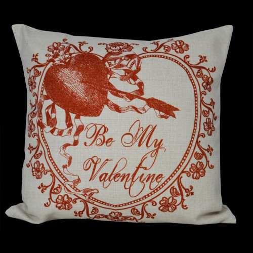 """Traditional Calligraphy """"Be My Valentine"""" Decorative Throw Pillow Cover 14"""" - IMAGE 1"""