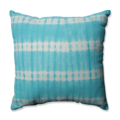"""18"""" Turquoise Blue and White Square Throw Pillow - IMAGE 1"""