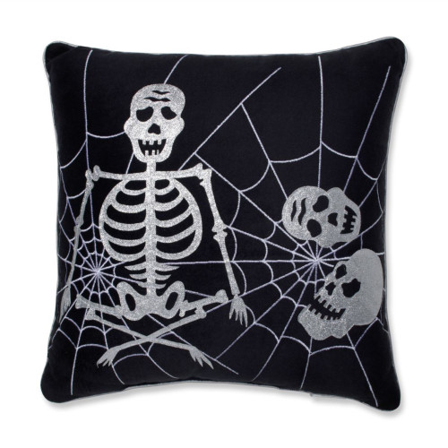 """17"""" Black and Silver Square Skeleton in Web Halloween Throw Pillow - IMAGE 1"""