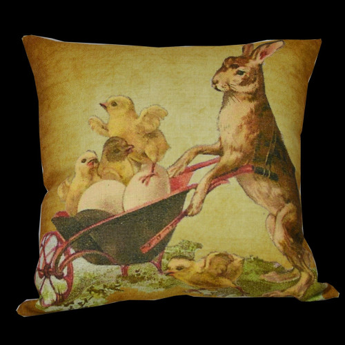 """14"""" Brown and Beige Bunny Pushing Little Chicks in a Wheelbarrow Throw Pillow - IMAGE 1"""