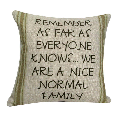 """12"""" Tan with Green Striped 'Nice Normal Family' Decorative Throw Pillow - IMAGE 1"""