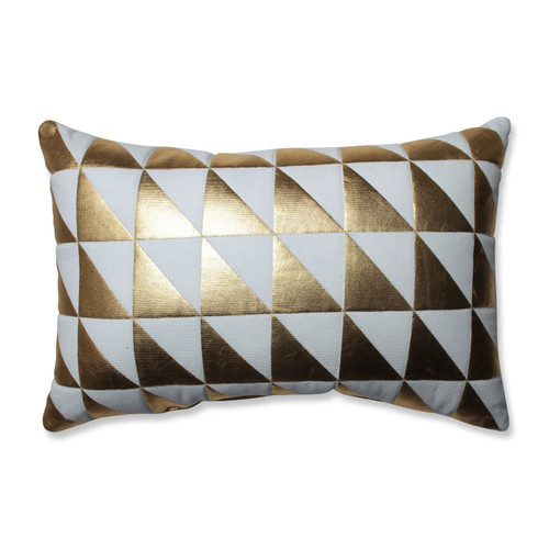 """17.5"""" White and Gold Contemporary Holiday Rectangular Christmas Throw Pillow - IMAGE 1"""