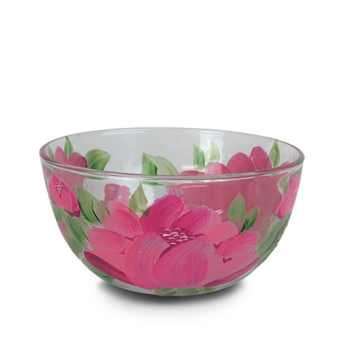 "6"" Pink and Green Peony Floral Hand Painted Glass Serving Bowl - IMAGE 1"