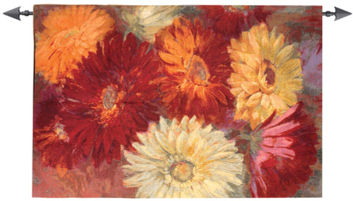 "Red, Orange, Yellow & White Gerberas Cotton Wall Art Hanging Tapestry 34"" x 52"" - IMAGE 1"