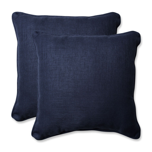 "Set of 2 Indigo Blue Square Outdoor Patio Throw Pillow 18.5"" - IMAGE 1"