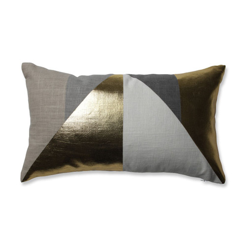 "18.5"" Metallic Gold and Taupe Brown Geometric Design Decorative Rectangular Throw Pillow - IMAGE 1"