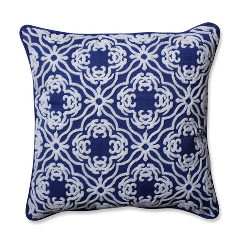 "18"" Cobalt Blue and White Embroidered Square Outdoor Throw Pillow - IMAGE 1"
