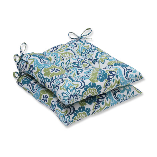 """19"""" Blue and Green Square Tufted Reversible Seat Cushions - IMAGE 1"""