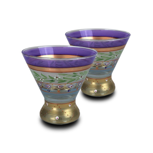 """Set of 2 Purple and Green Floral Hand Painted Wine Glasses 4"""" - IMAGE 1"""
