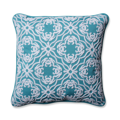 "18"" Teal Blue and White Embroidered Square Outdoor Throw Pillow - IMAGE 1"