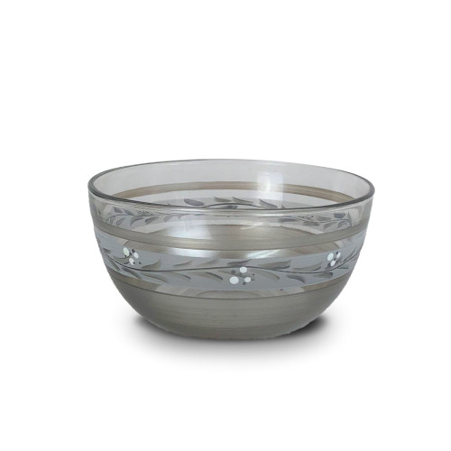 "6"" Clear Pewter Vine Hand Painted Multi-Purpose Glass Serving Bowl - IMAGE 1"