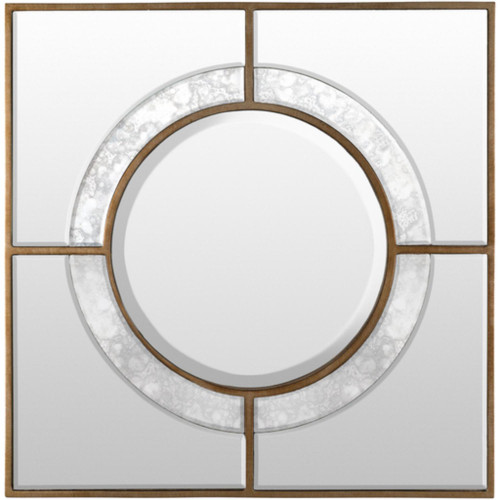 """24""""Antiqued Gold Square Framed Beveled Wall Mirror with Mercury Glass Accent - IMAGE 1"""