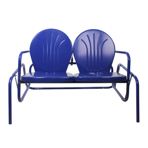 """47"""" Blue Outdoor Retro Tulip Double Glider Chair - IMAGE 1"""