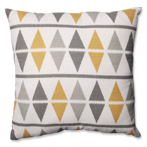 "24.5"" Gray and White Geometric Square Throw Pillow - IMAGE 1"