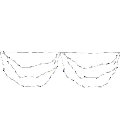 Set of 150 Blue and Clear Mini Swag Christmas Lights - 7.5 ft White Wire - IMAGE 1