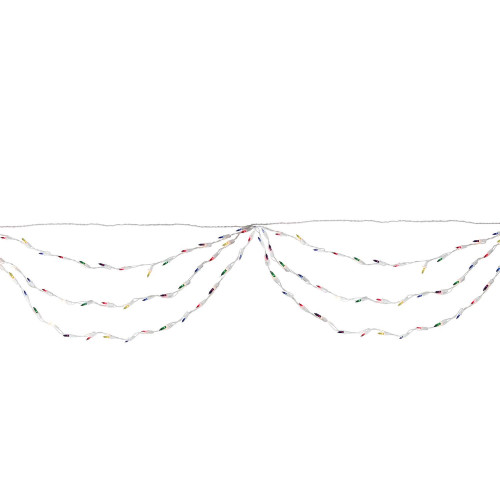 150-Count Multi Color Mini Swag Christmas Lights, 7.5ft White Wire - IMAGE 1