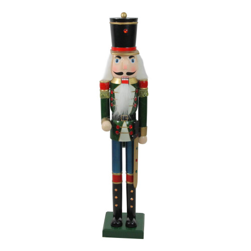 """36.75"""" Green and Black Christmas Nutcracker Soldier with Sword - IMAGE 1"""