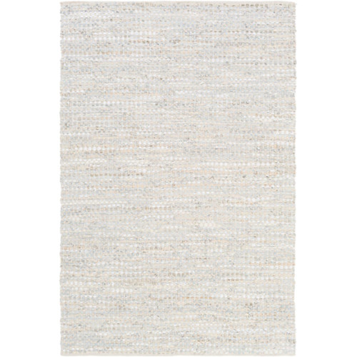 8' x 10' Ivory White and Mist Gray Stirred Coffee Hand Tufted Rectangular Area Throw Rug - IMAGE 1