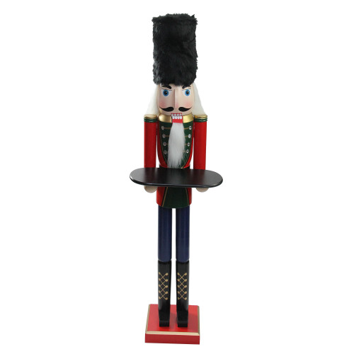 """48.25"""" Red and Black Christmas Butler Nutcracker with Tray - IMAGE 1"""